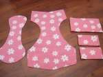 Cut pattern pieces for fleece reusable nappy/diaper cover
