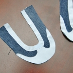 Attach contrast fabric to shoe upper