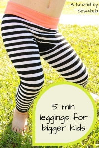 5 minute sock leggings for bigger kids Sew4bub