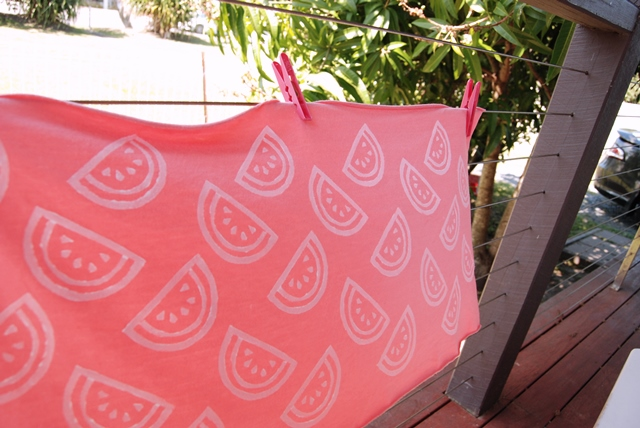 Hand printed watermelon fabric on www.sew4bub.com