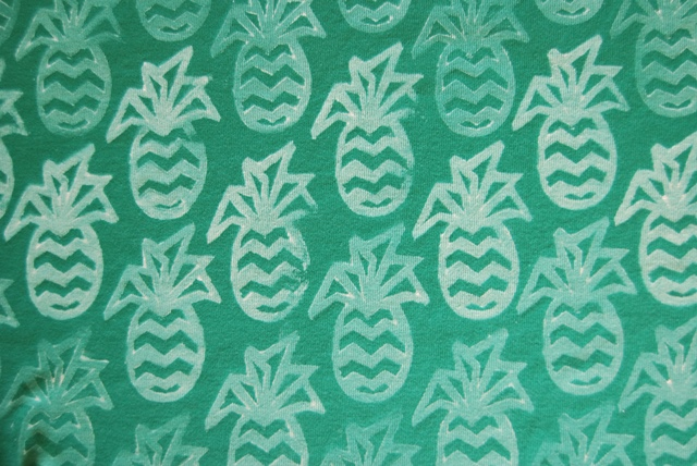 Hand printed pineapple fabric at www.sew4bub.com