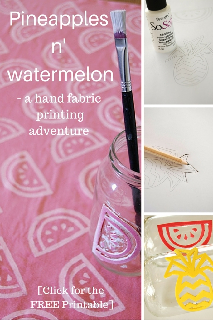Pineapples n' watermelon - a hand fabric printing adventure