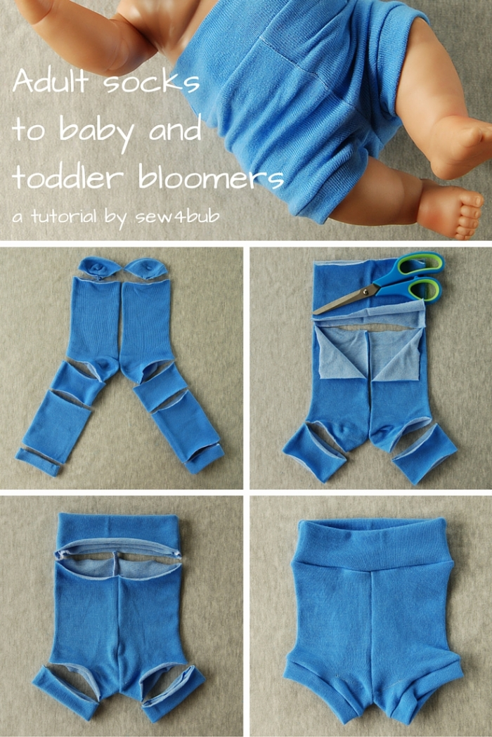 Adult socks to baby and toddler bloomers tutorial