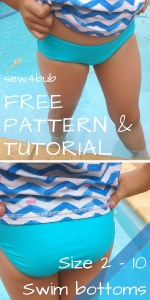 FREE Swim bottoms sewing pattern sizes 2 - 10 at sew4bub