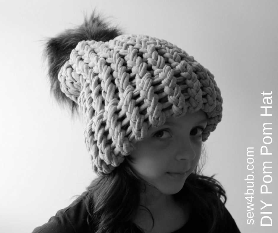 68342e1587a Oversize Beanies and Giant Faux Fur Pom Poms Oh My!  Tutorial